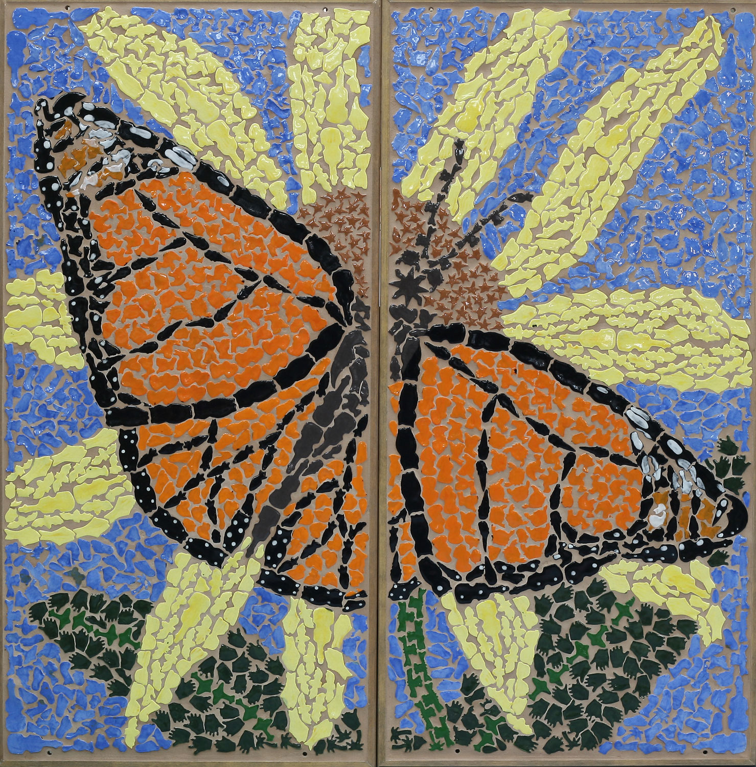 a two panel mosaic made with students from St. James the Greater in Cincinnati